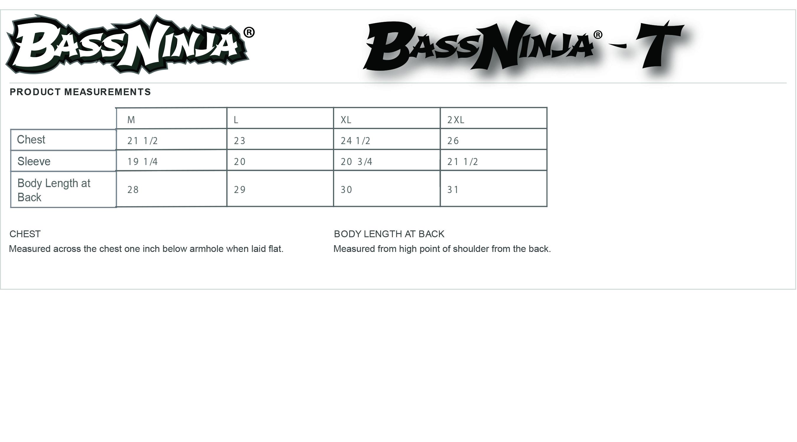bassninja®-t-size-chart